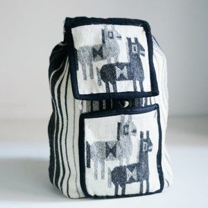 Vintage Handmade Wool Alpaca Print Backpack
